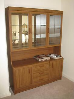 Wooden Cabinet with glass display top.