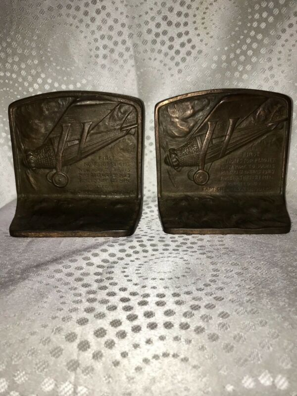 vintage bookends RARE Captain Charles A. Lindbergh First Flight Nonstop 5x5