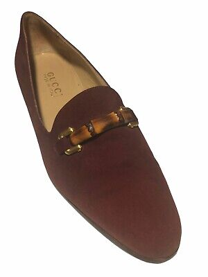 Gucci Women's Vintage Burgundy Red Suede Bamboo Horse-Bit Loafers - 7.5 B/US