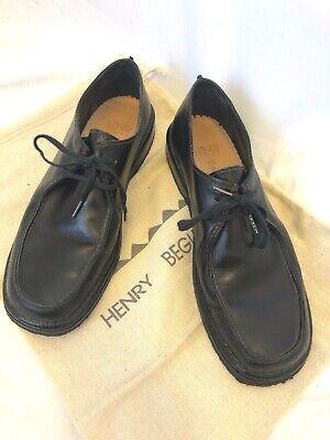 HENRY BEGUELIN shoes size 37.5 black leather tie shoe oxford vintage