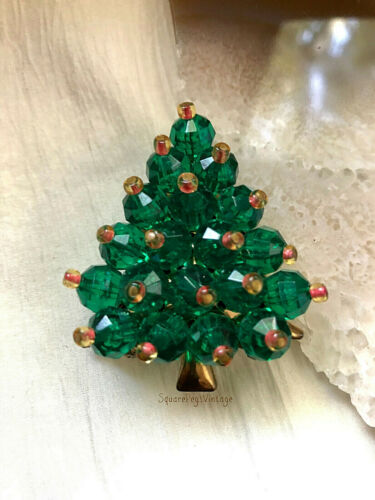 Vintage Christmas Tree Pin Brooch Unique Mid Century With Green Gold Red Beads