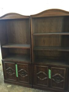 Wood stand alone book cases with doors