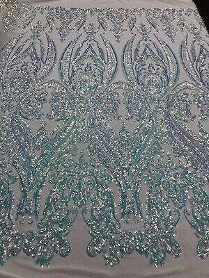 Iridescent Clear 4 Way Stretch Sequin Fabric Spandex Mesh Prom-Gown By The Yard