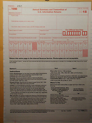 3 Irs Tax Forms 1096 Annual Summary Transmittal Go With Misc 1099 Year 2018