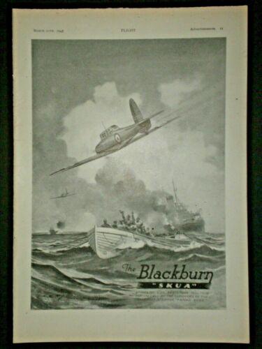 1943 THE BLACKBURN SKUA WWII FIGHTER PLANES, FANAD HEAD & U30 vtg Trade print ad