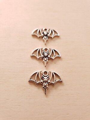 1 bis 3 Fledermaus Anhänger * Halloween * Schmuck Basteln Deko Charms Silber