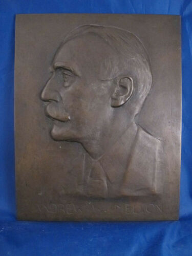 ANDREW W MELLON antique bronze relief plaque - Bank of New York