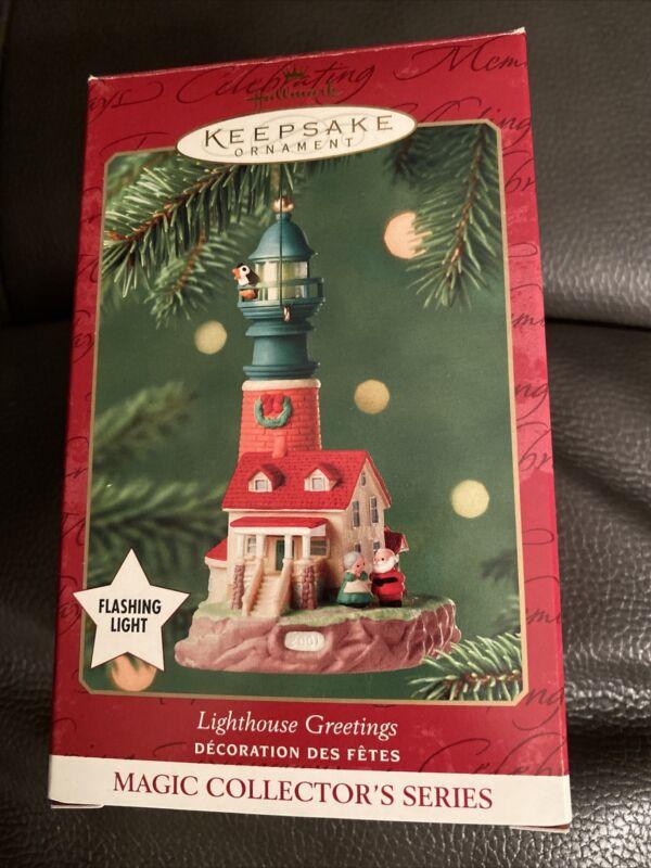 Lighthouse Greetings Hallmark 2001 Light House Ornament SANTA CLAUS Very Nice