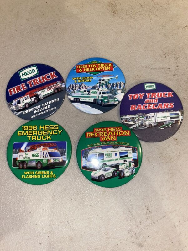 5 HESS  EMPLOYEE TRUCK ADVERTISING  BUTTONS PIN Advertising Gasoline Pins