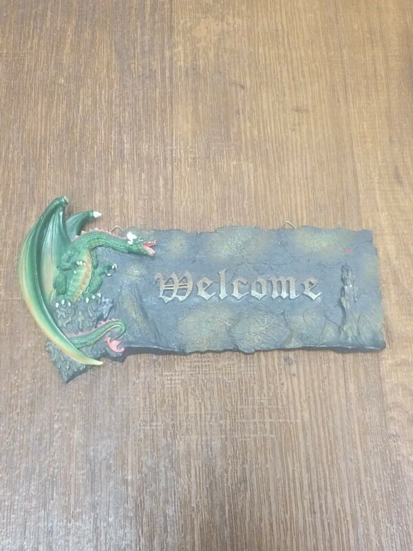 Gothic Dragon With Castle Welcome Sign Damaged (See Description)