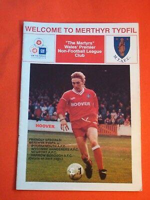 Merthyr Tydfil FC v Bournemouth/Wycombe Wanderers/Newport AFC   July/Aug 1993
