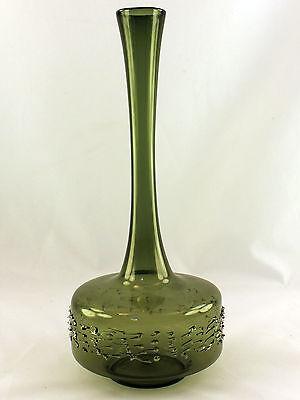 Vase Lauschaer Glas, mundgeblasen, olivgrün, Höhe 22,5 cm