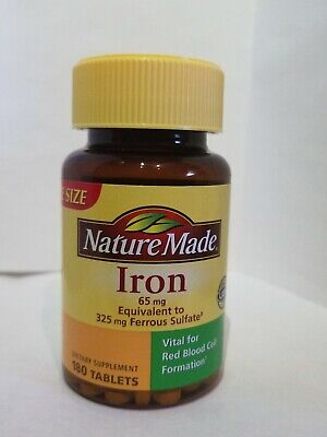 Nature Made Iron 65 mg -  180Tablets Dietary Supplement  ~NEW~ Exp  03/2022 Natural Iron Supplements
