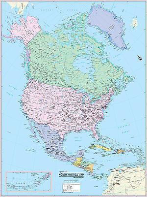 America Wall Map (Cool Owl Maps North America Continent Wall Map Poster - Paper 24