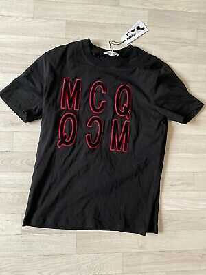Alexander Mcqueen Tshirt Velvet Logo Black MCQ Top LARGE uth