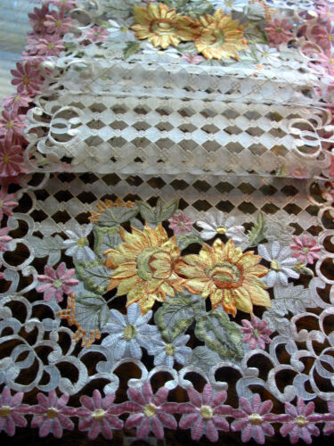 """Embroidery Table Runner Cut work lace Sunflowers Daisy Pink  54"""" by 16"""" Summer"""