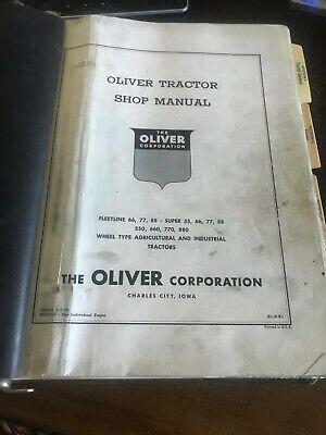 Vintage 1956 Oliver Shop Manual 66 77 Super 55667788550660770880 Tractor