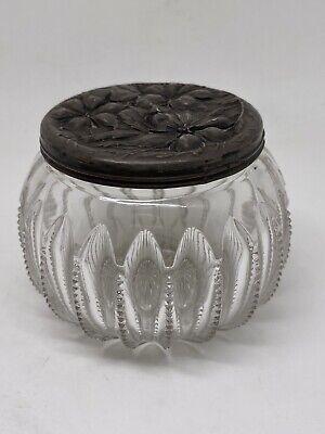 Antique Art Nouveau Sterling Silver Lid Glass Boudoir Jar