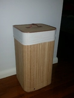 Bamboo Laundry Hamper ~ Basket - removable washable liner.