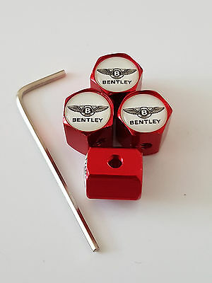 BENTLEY RED ANTI THEFT DUST VALVE CAPS LIMITED ALL MODELS RETAIL PACK BENTAYGA