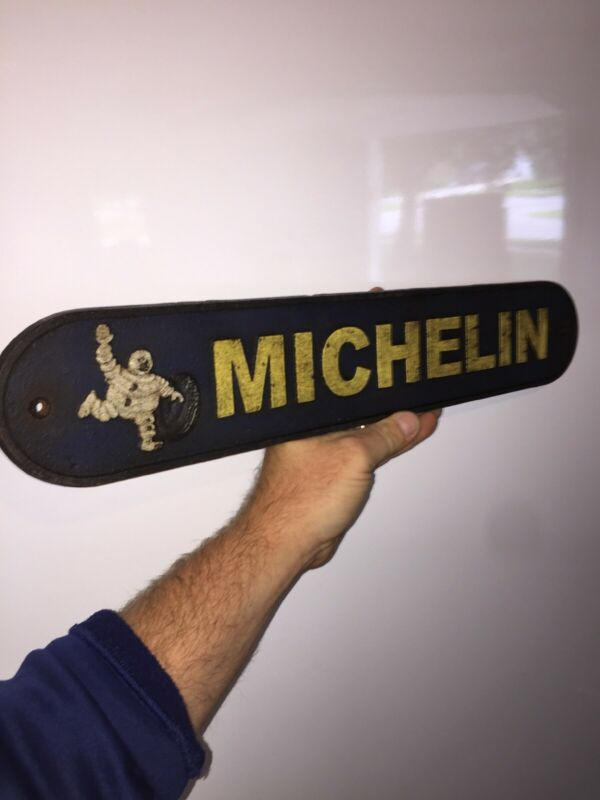 "Michelin Man Tires Garage Cast Iron Sign 20"" Patina Harley Indian Triumph Texaco"