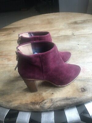 Ted Baker London Ladies Burgundy Suede Ankle Boots Back Zipper EU 36 UK 3 for sale  Shipping to South Africa