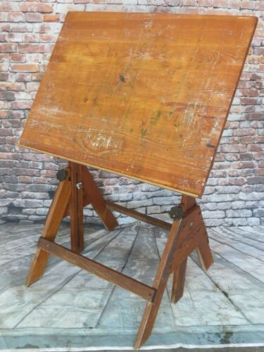 VINTAGE ANCO BILT WOOD/CAST IRON ADJUSTABLE HEIGHT INDUSTRIAL ART DRAFTING TABLE
