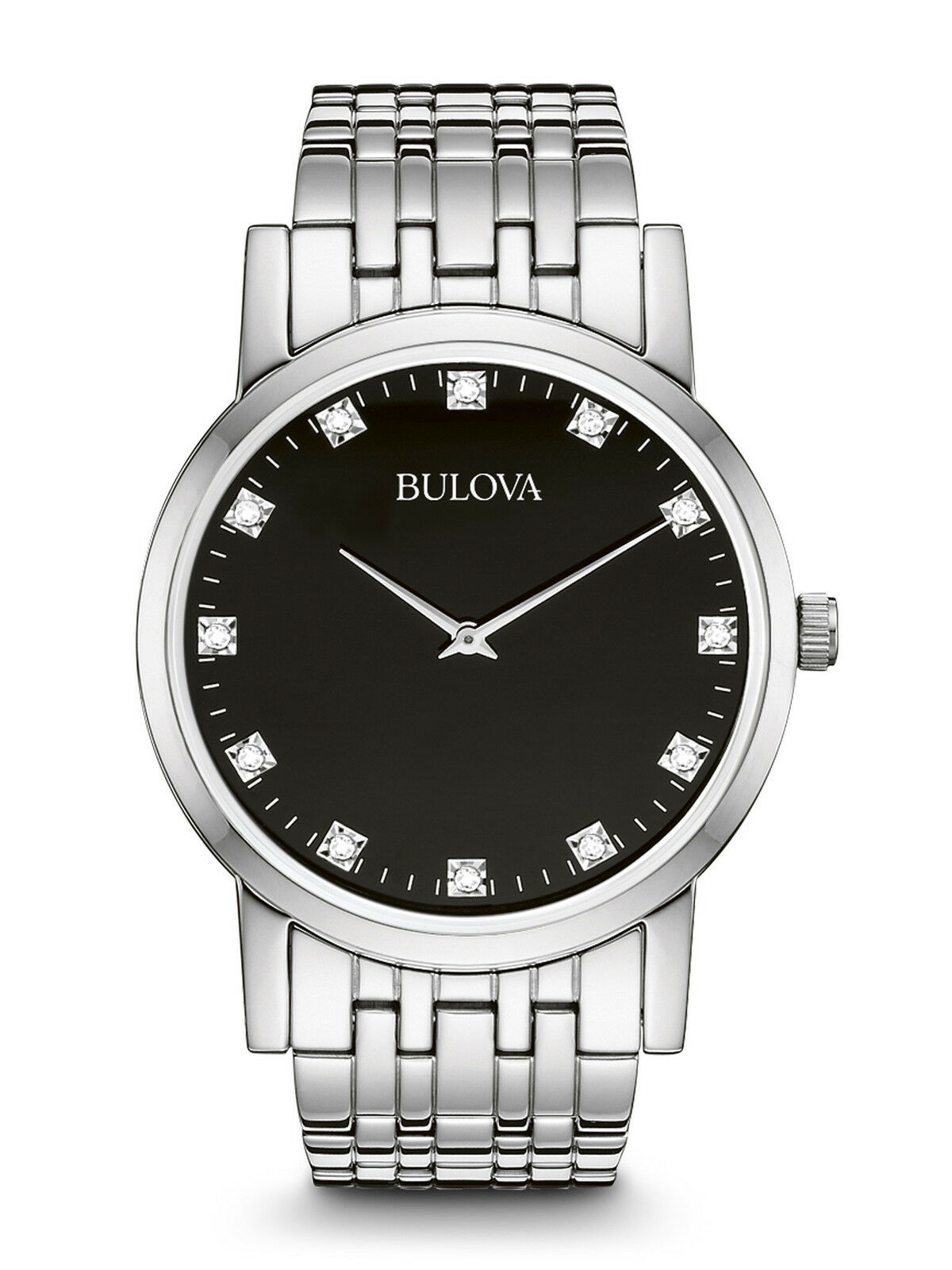Bulova men 39 s 96d106 diamond accents quartz black dial bracelet 38mm watch ebay for Watches bulova
