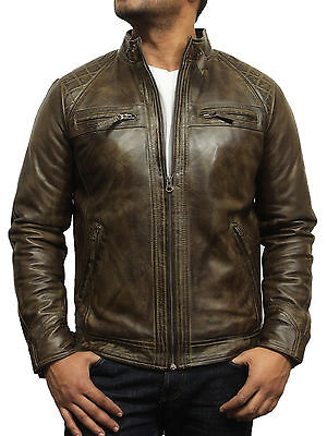 Brandslock Mens Genuine Wax Leather jacket Distressed