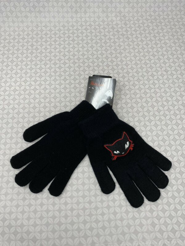 Emily the Strange Mystery cat Vintage Gloves Hot Topic New black