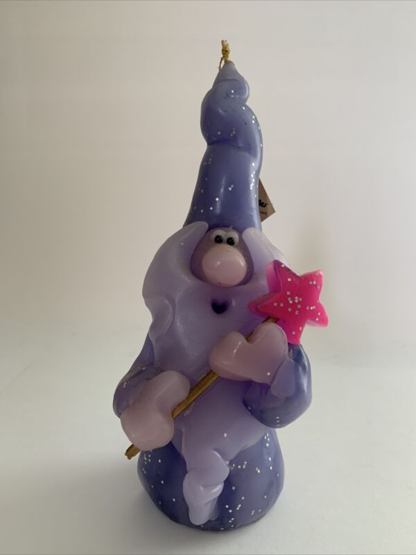 """Vintage NORTHERN LIGHTS CANDLE. WEE WIZARD Purple With Wand 7"""" SIGNED BY ARTIST"""