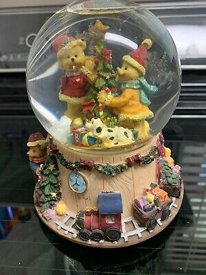 Musical Holiday Snow Globe Bears Decorating Christmas Tree Toy Train Set Base