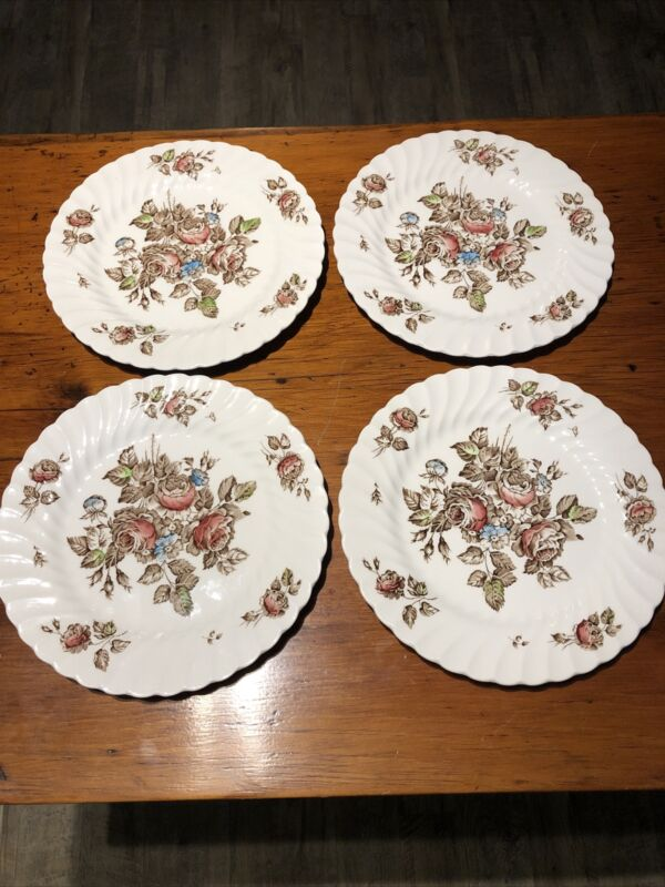 "JOHNSON BROTHERS Devon Sprays Set Of 4- 10"" Dinner Plates, England -Vintage"