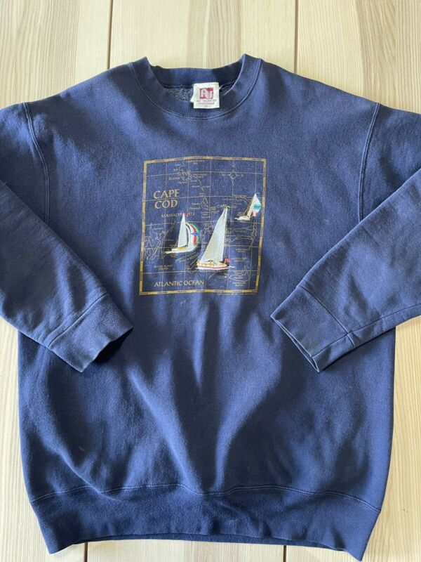 Vintage 1991 Cape Cod Map Ocean Boat Sweater