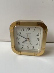 Seiko Brass Desk Table Square Heavy Clock Alarm Works Perfect OP 2766 Japan
