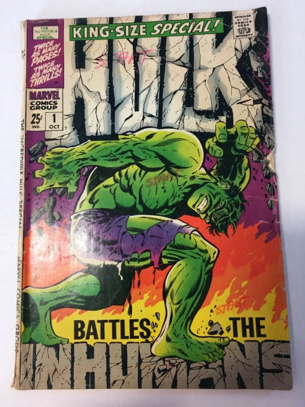 The Incredible Hulk 1 King Size Special Original 1968 Marvel Comic Book Inhumans