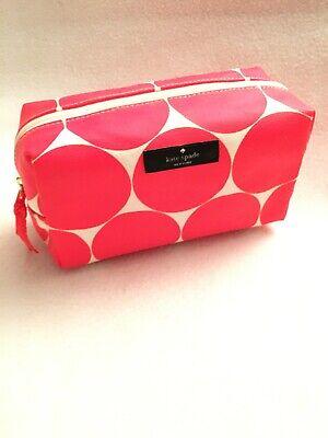 Kate Spade New York Cosmetic Case Makeup Bag Neon Pink Polka Dot - NEW