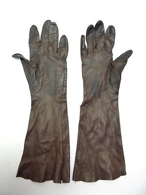 Vintage Used Old Leather Grandoe 6 ½ Brown B Alman Co Ladies Gloves Accessories  for sale  Shipping to India
