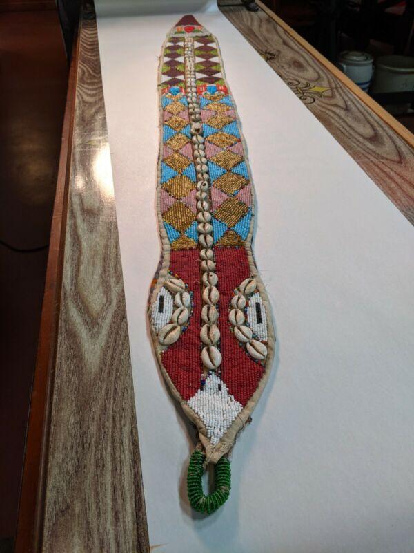 "Antique Yoruba Tribe AFRICAN Bead Crocodile Snake Art 50"" COWRIE Shell GODDESS"