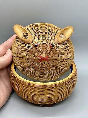 Vintage Woven Wicker Rabbit Bunny Lidded Basket Enamel Bowl As Is