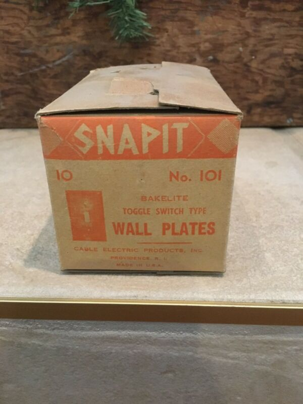 Box 10 Vintage NOS New Old Stock Snapit Brown Single Switch Wall Plate Bakelite