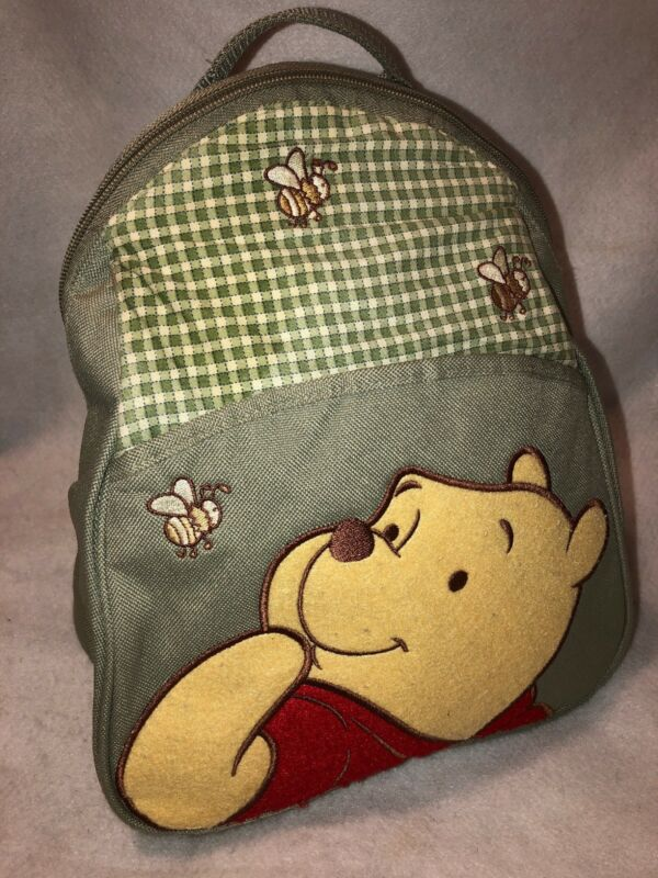 Vintage Appliqué Winnie The Pooh Youth Canvas Backpack Embroidered Bees Liner