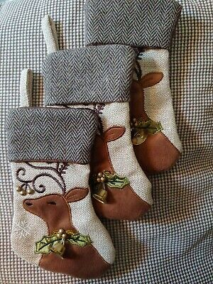 """Mini Stockings Appliqued Reindeer W/bells and Gold Beads - 5"""" x 8"""" each x 3!!!"""