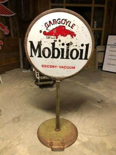 Large ORIGINAL Vintage MOBILOIL Mobil Gargoyle LOLLIPOP Sign PORCELAIN Gas Oil