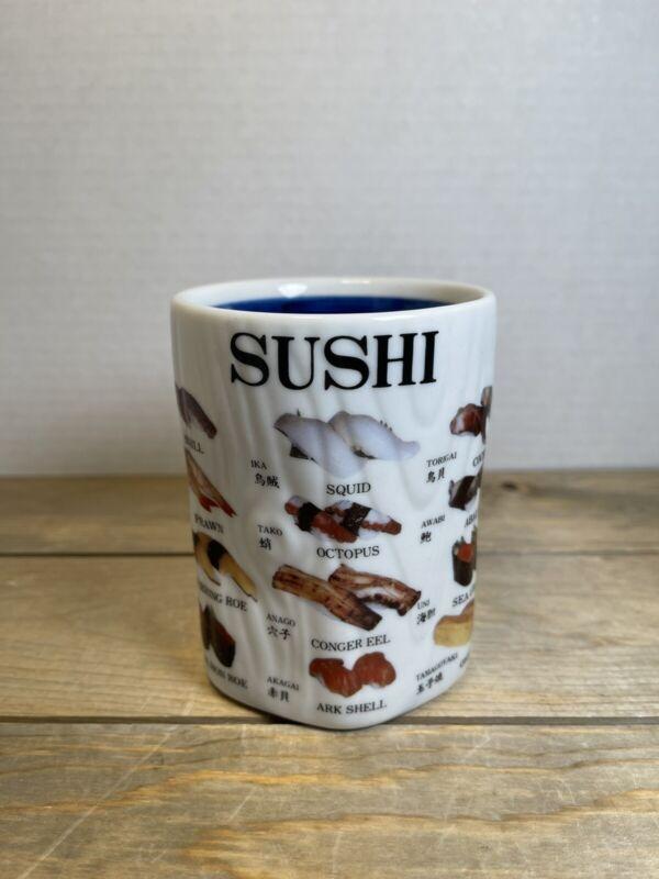 """Vintage Sushi Menu Terminology Tea Sake Cup Mug Made In Japan 4"""" Tall"""
