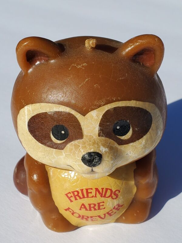 """Vintage Raccoon Russ """"Friends Are Forever"""" Candle Style 2336 Made In Macau"""
