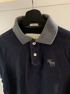 Abercrombie & Fitch Mens Polo Shirt Navy Blue Logo Muscle Fit Size Large