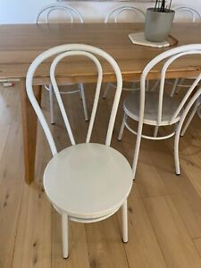 Metal white bentwood dining chairs