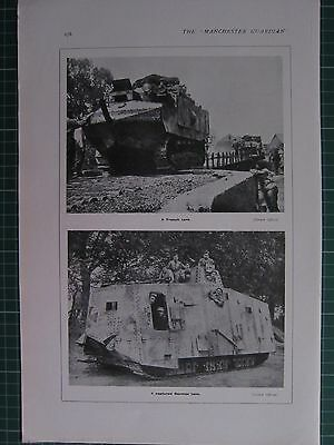 1918 WWI WW1 PRINT ~ A FRENCH TANK ~ A CAPTURED GERMAN TANK