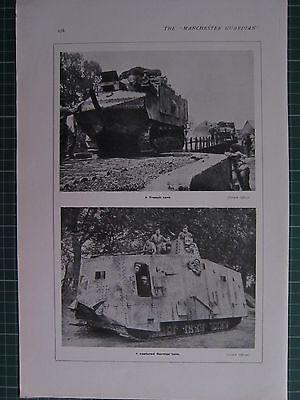 1918 WWI WW1 PRINT ~ A FRENCH TANK ~ A CAPTURED GERMAN TANK